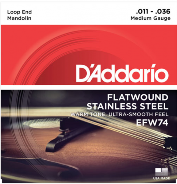 3 Sets D/'Addario EFW74 Flat Wound Mandolin Strings 11-36