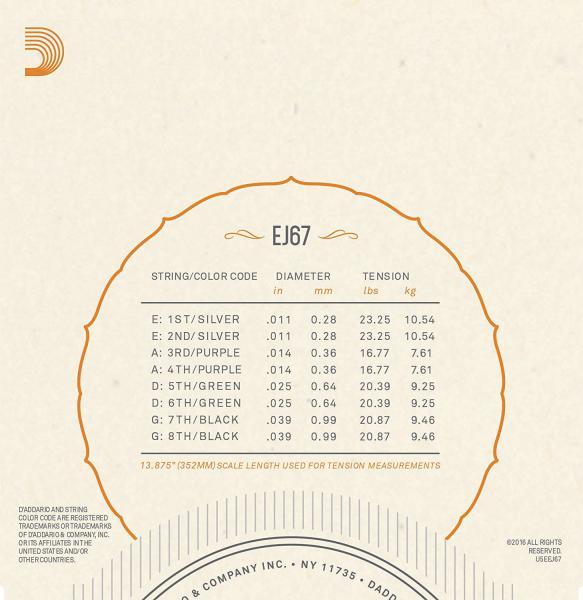 Buy D'addario EJ67 Mandoline Light 11 - 39 - set of ...